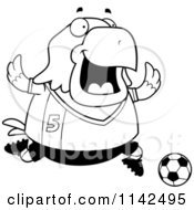 Cartoon Clipart Of A Black And White Chubby Bald Eagle Playing Soccer Vector Outlined Coloring Page