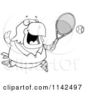 Cartoon Clipart Of A Black And White Chubby Bald Eagle Playing Tennis Vector Outlined Coloring Page