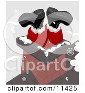 Santas Feet Sticking Up Out Of A Chimney On A Roof Clipart Illustration by AtStockIllustration