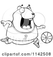 Cartoon Clipart Of A Black And White Chubby Hamster Playing Basketball Vector Outlined Coloring Page
