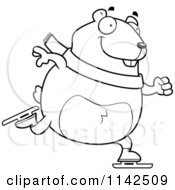 Cartoon Clipart Of A Black And White Chubby Hamster Ice Skating Vector Outlined Coloring Page