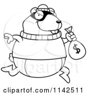 Cartoon Clipart Of A Black And White Hamster Robbing A Bank Vector Outlined Coloring Page