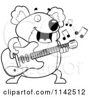 Cartoon Clipart Of A Black And White Chubby Koala Guitarist Vector Outlined Coloring Page