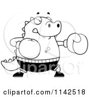Cartoon Clipart Of A Black And White Chubby Lizard Boxing Vector Outlined Coloring Page