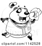 Cartoon Clipart Of A Black And White Chubby Panda Playing Baseball Vector Outlined Coloring Page
