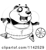 Cartoon Clipart Of A Black And White Chubby Panda Playing Basketball Vector Outlined Coloring Page