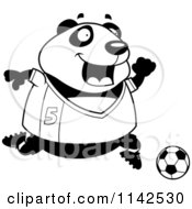 Cartoon Clipart Of A Black And White Chubby Panda Playing Soccer Vector Outlined Coloring Page