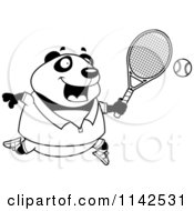 Cartoon Clipart Of A Black And White Chubby Panda Playing Tennis Vector Outlined Coloring Page
