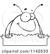 Cartoon Clipart Of A Black And White Pillbug In Grass Vector Outlined Coloring Page