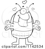 Cartoon Clipart Of A Black And White Loving Pillbug Vector Outlined Coloring Page