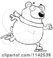Cartoon Clipart Of A Black And White Chubby Polar Bear Ice Skating Vector Outlined Coloring Page