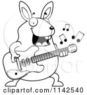 Cartoon Clipart Of A Black And White Chubby Rabbit Guitarist Vector Outlined Coloring Page