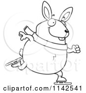 Cartoon Clipart Of A Black And White Chubby Rabbit Ice Skating Vector Outlined Coloring Page