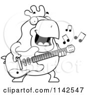 Cartoon Clipart Of A Black And White Chubby Rooster Guitarist Vector Outlined Coloring Page