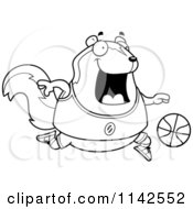 Cartoon Clipart Of A Black And White Chubby Skunk Playing Basketball Vector Outlined Coloring Page