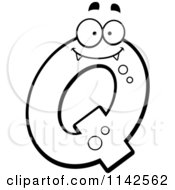 Cartoon Clipart Of A Black And White Alien Letter Q Vector Outlined Coloring Page by Cory Thoman