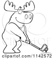 Cartoon Clipart Of A Black And White Golfing Moose Holding The Club Against The Ball On The Tee Vector Outlined Coloring Page by Cory Thoman