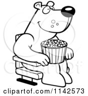 Cartoon Clipart Of A Black And White Happy Bear With Popcorn At The Movie Theater Vector Outlined Coloring Page