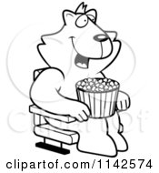 Cartoon Clipart Of A Black And White Happy Cat With Popcorn At The Movie Theater Vector Outlined Coloring Page by Cory Thoman
