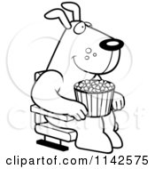 Cartoon Clipart Of A Black And White Happy Dog With Popcorn At The Movie Theater Vector Outlined Coloring Page by Cory Thoman