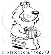 Cartoon Clipart Of A Black And White Happy Lion With Popcorn At The Movie Theater Vector Outlined Coloring Page