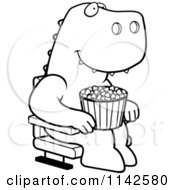 Cartoon Clipart Of A Black And White Happy T Rex With Popcorn At The Movie Theater Vector Outlined Coloring Page