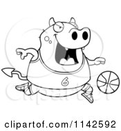 Cartoon Clipart Of A Black And White Chubby Devil Playing Basketball Vector Outlined Coloring Page
