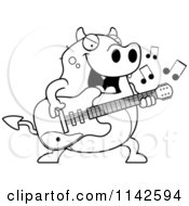Cartoon Clipart Of A Black And White Chubby Devil Playing A Guitar Vector Outlined Coloring Page