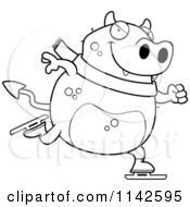 Cartoon Clipart Of A Black And White Chubby Devil Ice Skating Vector Outlined Coloring Page