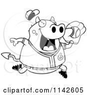 Cartoon Clipart Of A Black And White Chubby Devil Playing Baseball Vector Outlined Coloring Page