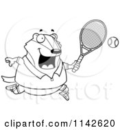 Cartoon Clipart Of A Black And White Chubby Badger Playing Tennis Vector Outlined Coloring Page