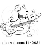 Cartoon Clipart Of A Black And White Chubby Beaver Guitarist Vector Outlined Coloring Page