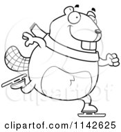 Cartoon Clipart Of A Black And White Chubby Beaver Ice Skating Vector Outlined Coloring Page