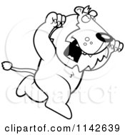 Cartoon Clipart Of A Black And White Attacking Lion Vector Outlined Coloring Page