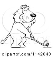 Cartoon Clipart Of A Black And White Golfing Lion Holding The Club Against The Ball On The Tee Vector Outlined Coloring Page by Cory Thoman
