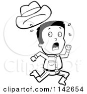 Cartoon Clipart Of A Black And White Scared Cowboy Losing His Hat While Running Away Vector Outlined Coloring Page