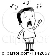 Cartoon Clipart Of A Black And White Talented Boy Singing Vector Outlined Coloring Page