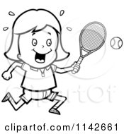 Cartoon Clipart Of A Black And White Tennis Girl Swinging Her Racket At The Ball Vector Outlined Coloring Page