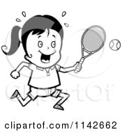 Cartoon Clipart Of A Black And White Girl Swinging Her Tennis Racket At The Ball Vector Outlined Coloring Page