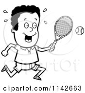 Cartoon Clipart Of A Black And White Tennis Boy Swinging His Racket At The Ball Vector Outlined Coloring Page