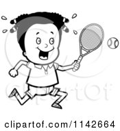Cartoon Clipart Of A Black And White Black Tennis Girl Swinging Her Racket At The Ball Vector Outlined Coloring Page