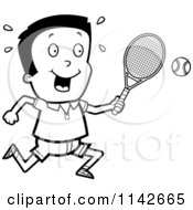 Cartoon Clipart Of A Black And White Boy Swinging His Tennis Racket At The Ball Vector Outlined Coloring Page