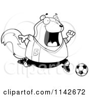 Cartoon Clipart Of A Black And White Chubby Skunk Playing Soccer Vector Outlined Coloring Page