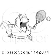 Cartoon Clipart Of A Black And White Chubby Skunk Playing Tennis Vector Outlined Coloring Page
