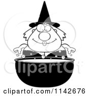 Cartoon Clipart Of A Black And White Chubby Witch Over A Cauldron Vector Outlined Coloring Page