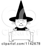 Cartoon Clipart Of A Black And White Happy Halloween Witch Girl Over A Banner Vector Outlined Coloring Page