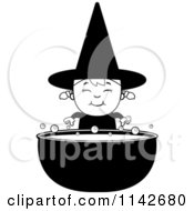Cartoon Clipart Of A Black And White Happy Halloween Witch Girl And Cauldron Vector Outlined Coloring Page