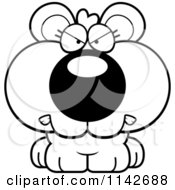 Cartoon Clipart Of A Black And White Mad Cute Bear Cub Vector Outlined Coloring Page