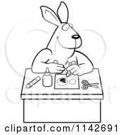Cartoon Clipart Of A Black And White Arts And Crafts Rabbit Vector Outlined Coloring Page by Cory Thoman