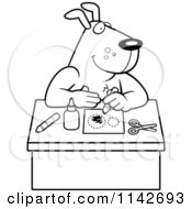 Cartoon Clipart Of A Black And White Arts And Crafts Dog Vector Outlined Coloring Page by Cory Thoman